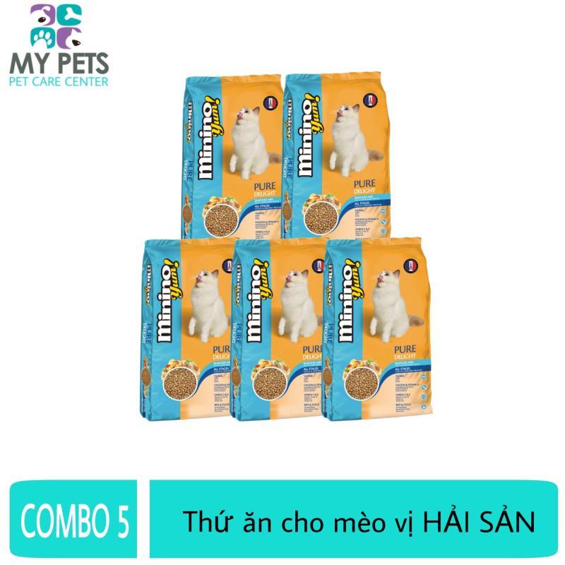 (COMBO5) Thức ăn vị hải sản dành cho mèo mọi lưa tuổi - thức ăn cho mèo minino yum 350g