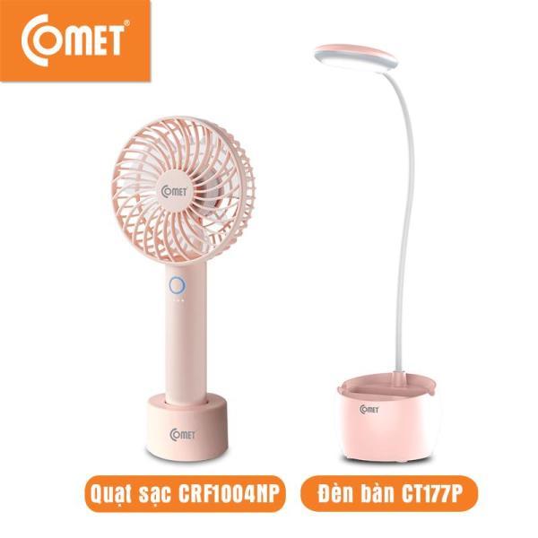 Combo cho Mẹ và Bé: Quạt sạc cầm tay mini COMET CRF1004N & Đèn bàn học sinh LED COMET CT177 thiết kế hiện đại, cổng sạc USB, quạt 3 cấp độ, đèn ánh sáng tiết kiệm, tốt cho mắt, pin Lithium
