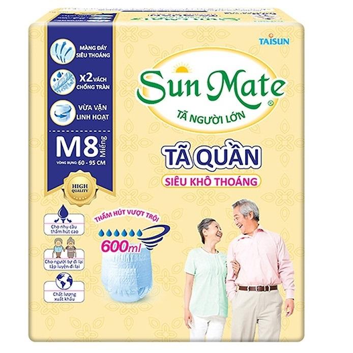 Tã quần Sunmate size M8 siêu khô thoáng (8 miếng / gói) _ tã quần người lớn