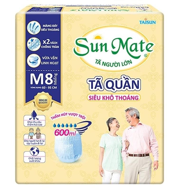 Tã quần Sunmate size M8 siêu khô thoáng (8 miếng / gói)  tã quần người lớn cao cấp