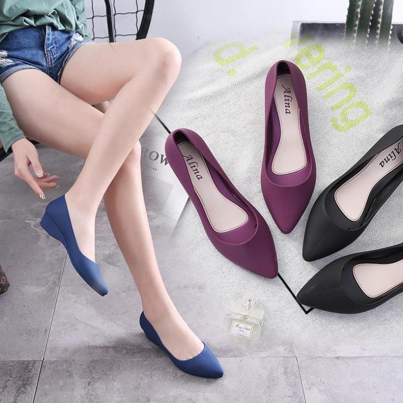 Giày búp bê giày công sở nhựa dẻo đi mưa chống nước , chống trơn trượt size 36 đến 40 (form nhỏ đặt tăng 1 size)