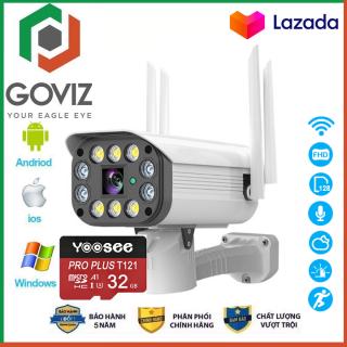 ( Tùy Chọn Thẻ Nhớ - BH 60 Tháng ) Camera Wifi Goviz Camera Yoosee Ngoài Trời 4 Râu 10 Led Full HD 3.0Mpx , Siêu chống nước , Xem đêm có màu thumbnail