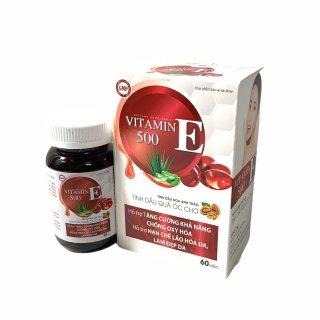 Viên uống đẹp da vitamin E 500- Thành Phần Tinh Dầu Quả Óc Chó, Hoa Anh Thảo Giúp Đẹp Da, Mờ Nám, Cân Bằng Nội Tiết Tố- Lọ 60 viên thumbnail