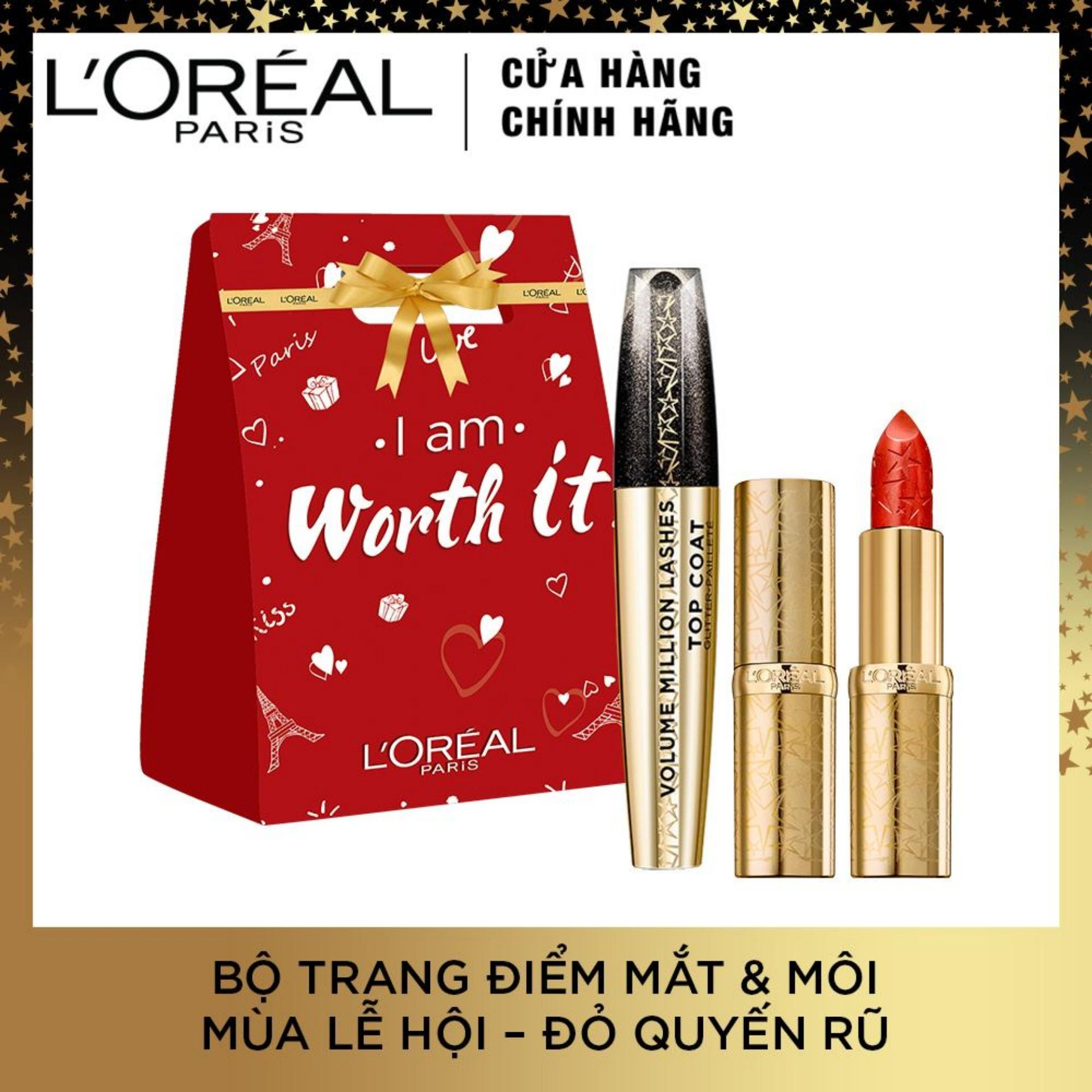 Phiên bản giới hạn Starlight Collection - Bộ quà tặng LOreal Paris Midnight De Paris Eyes & Lips tông màu đỏ nhập khẩu