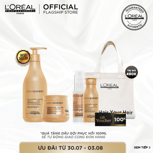 [Tặng Voucher 100k] Bộ sản phẩm phục hồi tóc hư tổn toàn diện Absolut Gold Repair LOréal Professionel giá rẻ