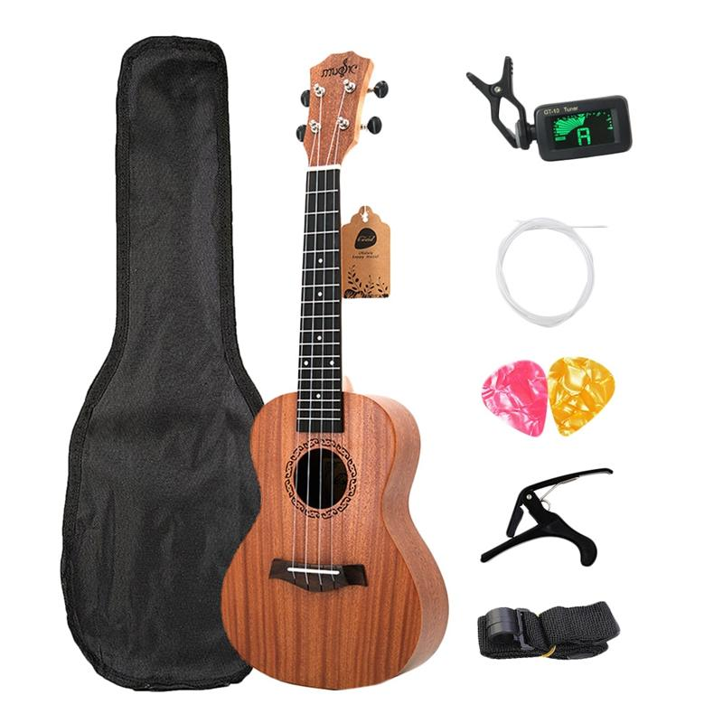 Concert Ukulele Kits 23 Inch Rosewood 4 Strings Hawaiian Mini Guitar With Bag Tuner Capo Strap Stings Picks Musical Instruments For Beginners