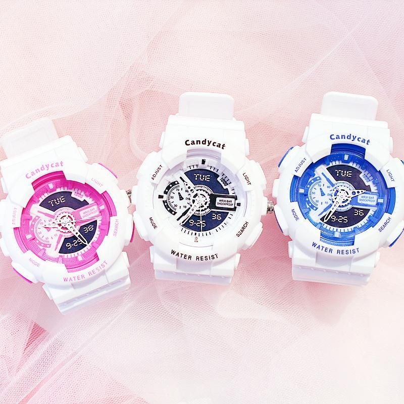 Đồng hồ thời trang nam nữ Candycat mẫu chạy kim giả điện tử phiên bản mới bán chạy