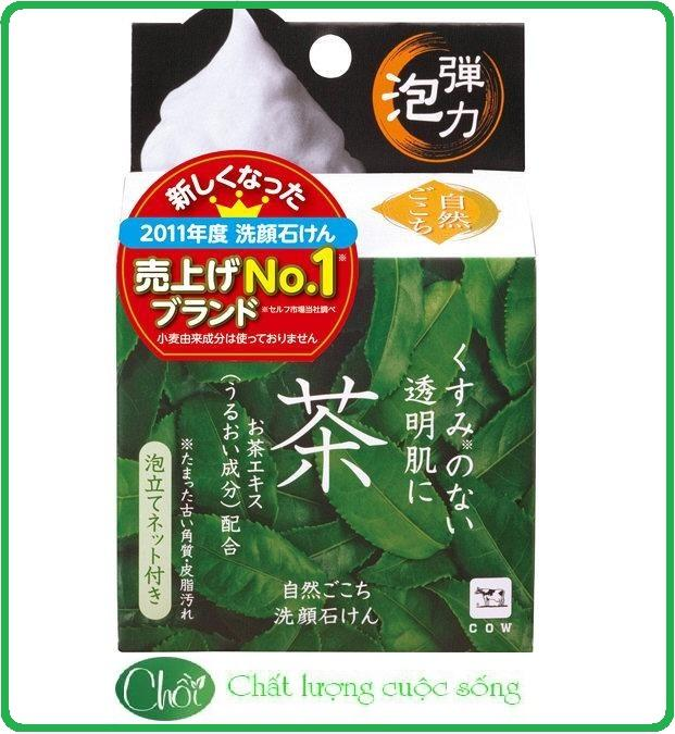 Xà phòng rửa mặt COW sữa rửa mặt hương trà xanh 80g Nhật Bản