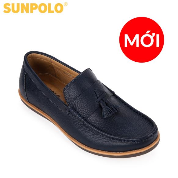 Giày mọi nam da bò SUNPOLO MU2581 (Xanh Navy) giá rẻ