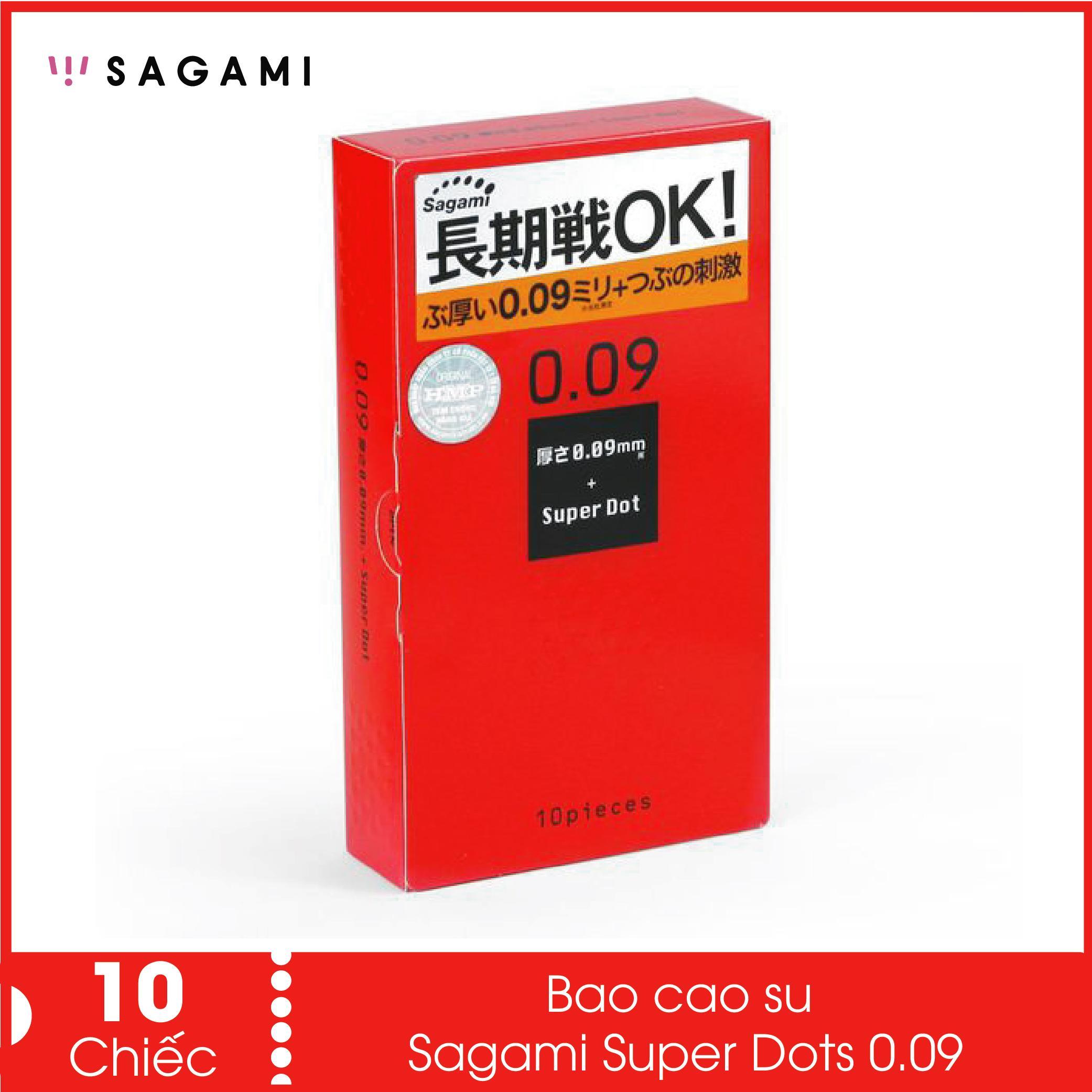 Bao cao su Sagami Super Dots 0.09 ôm khít (Hộp 10) - Sản xuất tại Nhật Bản