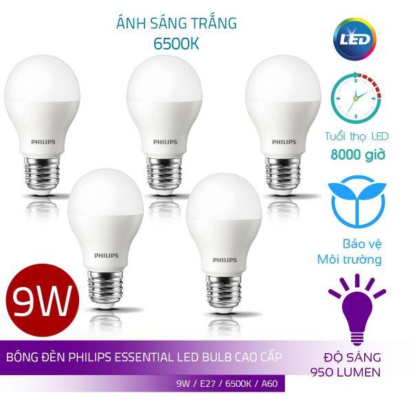 Combo 5 Bóng Philips LED Bulb Essential 9W E27 ( Ánh sáng trắng 6500K)