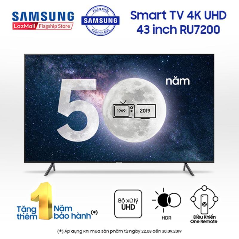 Bảng giá Smart TV Samsung 4K UHD 43 inch - Model UA43RU7200KXXV (2019) - Công nghệ hình ảnh HDR, UHD Dimming, Purcolour + Điều khiển Tivi bằng điện thoại - Hàng phân phối chính hãng