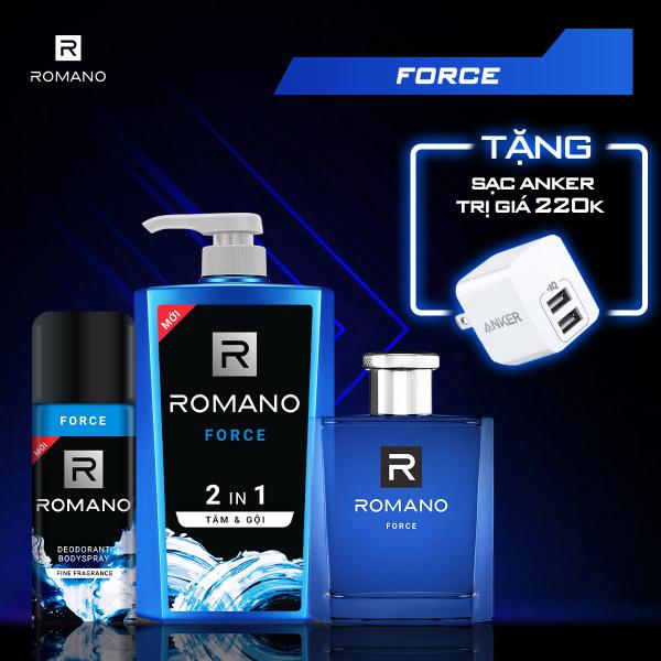[TẶNG NGAY SẠC ANKER MINI 2 CỔNG 12W] Combo Romano Force: Tắm gội 2in1 650g & Nước hoa 50ml & Xịt khử mùi 150ml