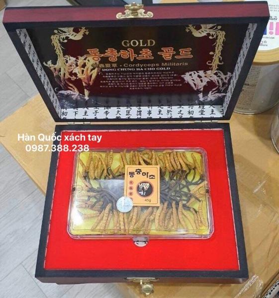 Đông trùng hạ thảo sấy khô nguyên con Hàn Quốc - Hộp gỗ 45g ( 50 -60 con)