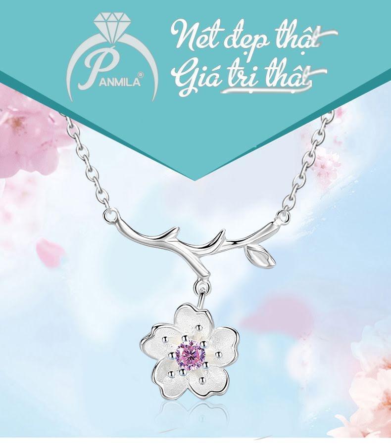 Dây chuyền bạc Hoa Mai Hồng - Trang sức bạc Panmila (TS-DC-A4H)