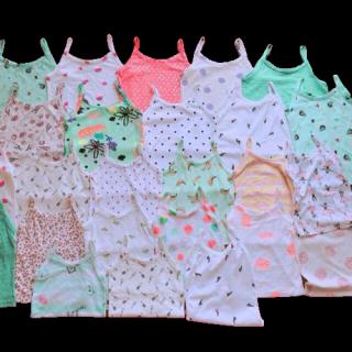 com bo 5 áo 2 dây bé gái - hàng xuất dư size 3 cho bé từ 11-15kg-áo dây cotton bé gái
