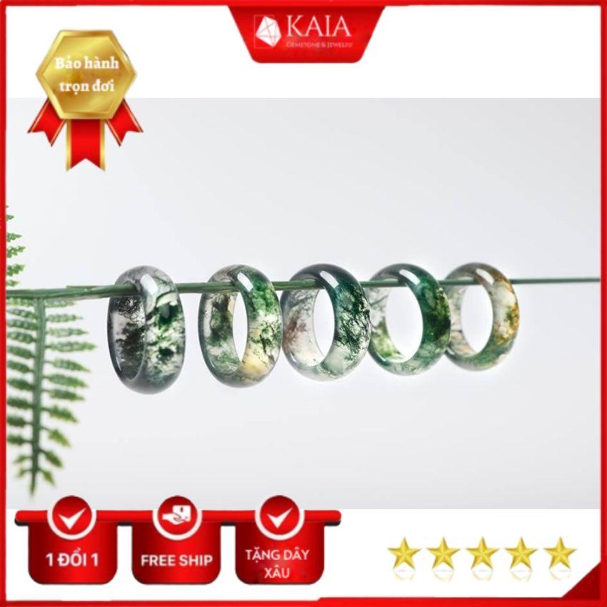 Nhẫn phong thủy Băng Ngọc Thủy Tảo - Tặng kèm dây đeo cổ 29K - Nhẫn phong thủy nam nữ, nhẫn đôi, băng ngọc thủy tảo tự nhiên - KAIA