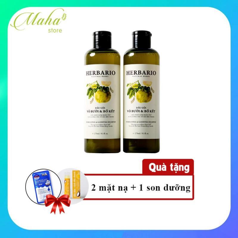 Bộ 2 dầu gội vỏ bưởi bồ kết Herbario trị rụng tóc, phục hồi tóc hư tổn giá rẻ