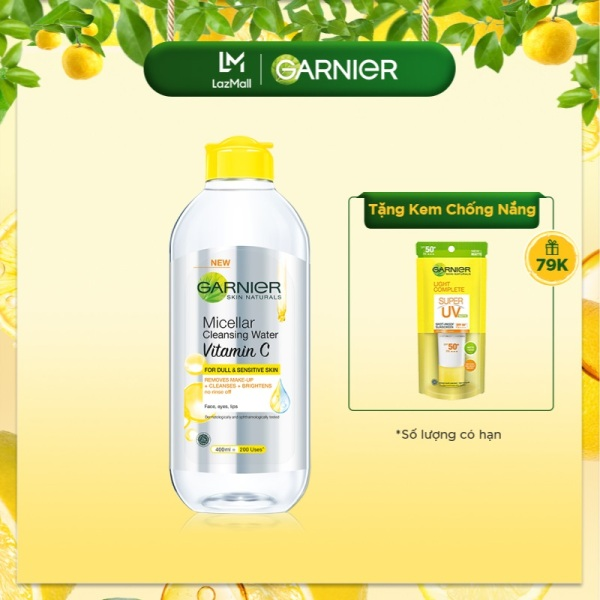 Nước làm sạch và tẩy trang dưỡng sáng da Garnier Micellar Water Vitamin C 400ml giá rẻ