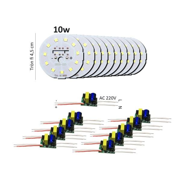 Bảng giá 10 Bảng bo vỉ mạch Led 9w 10w 11 mắt chip Led 2835 siêu sáng + nguồn driver AC220V MLB-10x