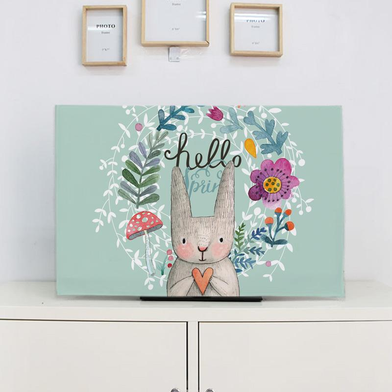 Linen Made Hand-Painted Rabbit Television Dust Cover 32-Inch Household Desktop Television Hood Curved Surface Liquid Crystal Universal Dirt-proof Cover