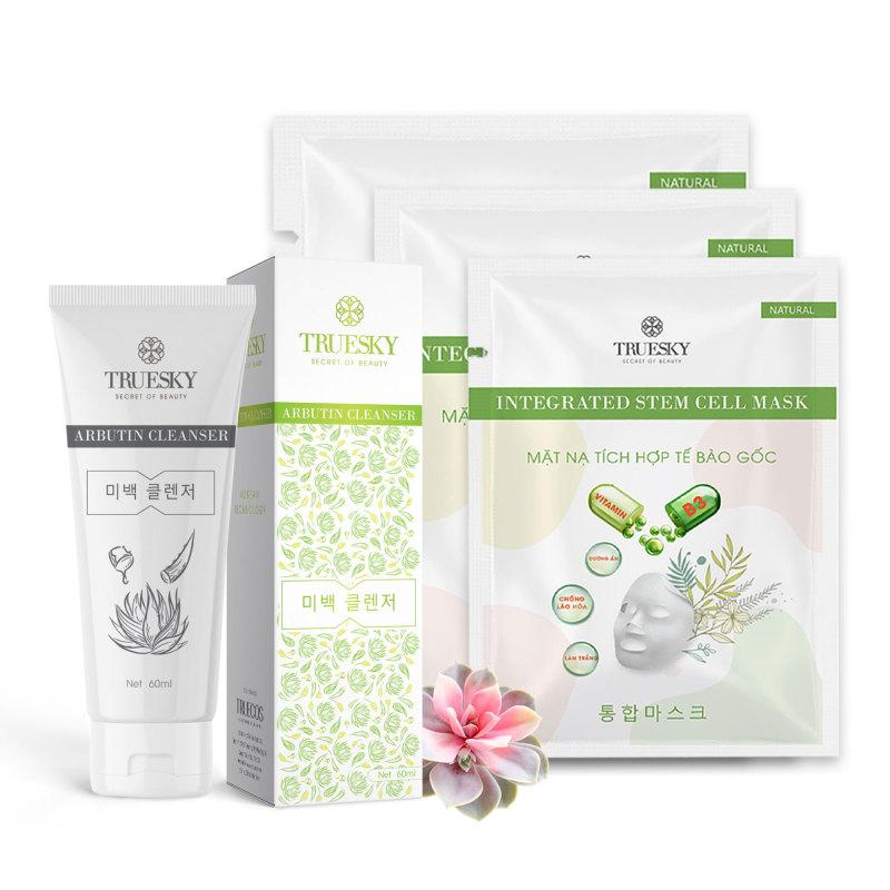 Bộ sản phẩm trắng da mặt M03 gồm 1 sữa rửa mặt nha đam 60ml + 3 miếng mặt nạ dưỡng da Truesky