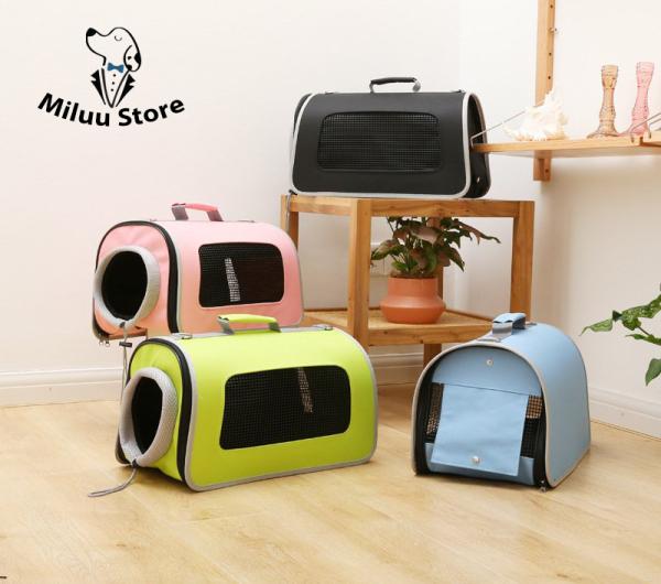 Túi chó mèo thời trang, 3 mặt thoáng khí, 1 ống dây rút + 1 rèm thoáng khí, cho thú cưng không gian thoải mái nhất