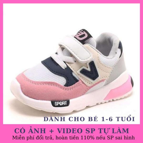 Giá bán Giày cho bé gái thể thao chữ V màu hồng cao cấp mềm mại, siêu nhẹ thoáng khí dành cho bé từ 1-6 tuổi