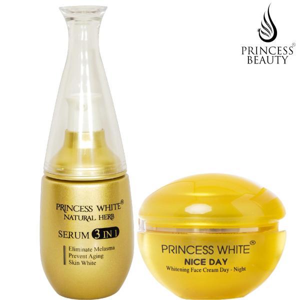 BỘ SẢN PHẨM DƯỠNG TRẮNG DA MẶT NICE DAY + SERUM 3IN1  PRINCESS WHITE