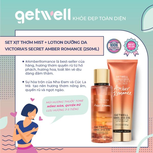 Set Xịt thơm + Dưỡng thể Victorias Secret Fragrance Mist & Lotion - Amber Romance