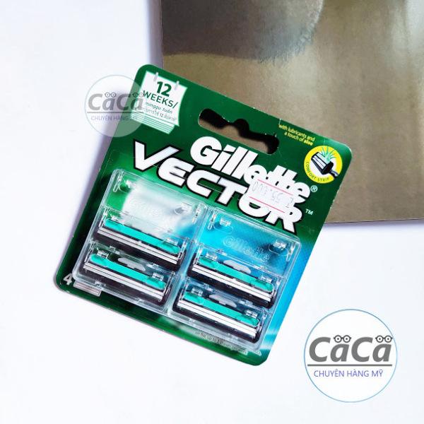 [Chính hãng] Dao cạo râu 2 lưỡi thay thế Gillette Vector vỉ 4 cái giá rẻ