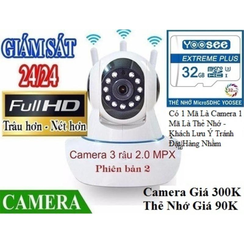 [ Camera Giá 305K - Thẻ Nhớ Yoosee 32GB Giá 90K ] Camera IP Wifi Yoosee 3 Râu FULL HD Không Dây Phiên Bản 2019 Xoay 360 Độ