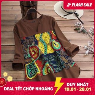 Áo nữ dáng dài cổ V vạt áo bất đối xứng phối màu họa tiết ZANZEA thumbnail
