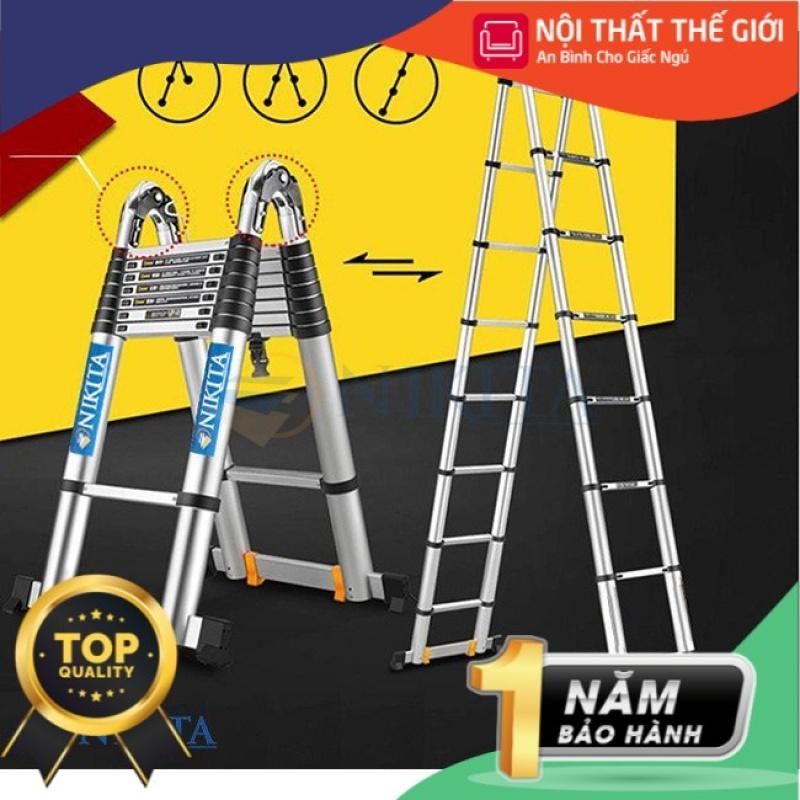 Thang nhôm rút đa năng Nikita có bánh xe di chuyển kèm chân phụ cao 5,0m (NKT-AID50)