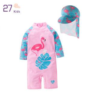 27 Cái/bộ Đồ Bơi Cho Bé Gái Bộ Đồ Bơi Họa Tiết Hồng Hạc Cho Trẻ Tập Đi, Đồ Đi Biển Chống Nắng Hồi Giáo Dài Tay