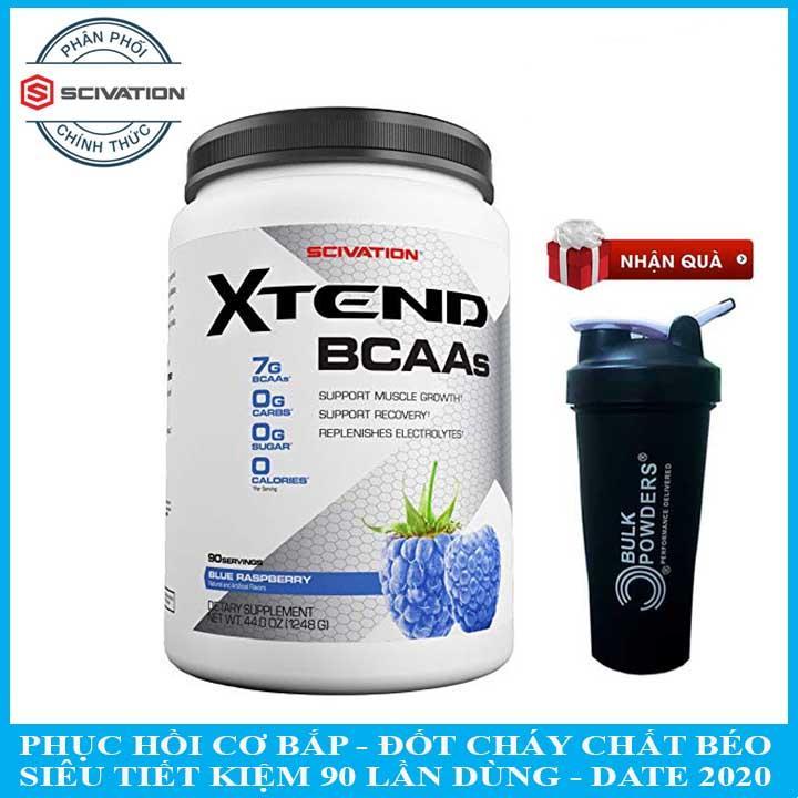 [TẶNG BÌNH LẮC] XTEND BCAA của Scivation hương Blue Raspberry hộp 90 lần dùng hỗ trợ đốt cháy chất béo, tăng cường độ và kéo dài thời gian luyện tập