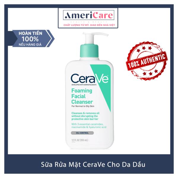 [Bill Mỹ] Sữa Rửa Mặt CeraVe Cho Da Dầu (355 ml) - CeraVe Foaming Facial Cleanser