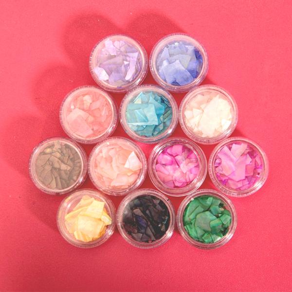 Set 12 hũ xà cừ vân đá - xà cừ trang trí móng tay đắp gel ẩn theo phong cách Hàn Nhật