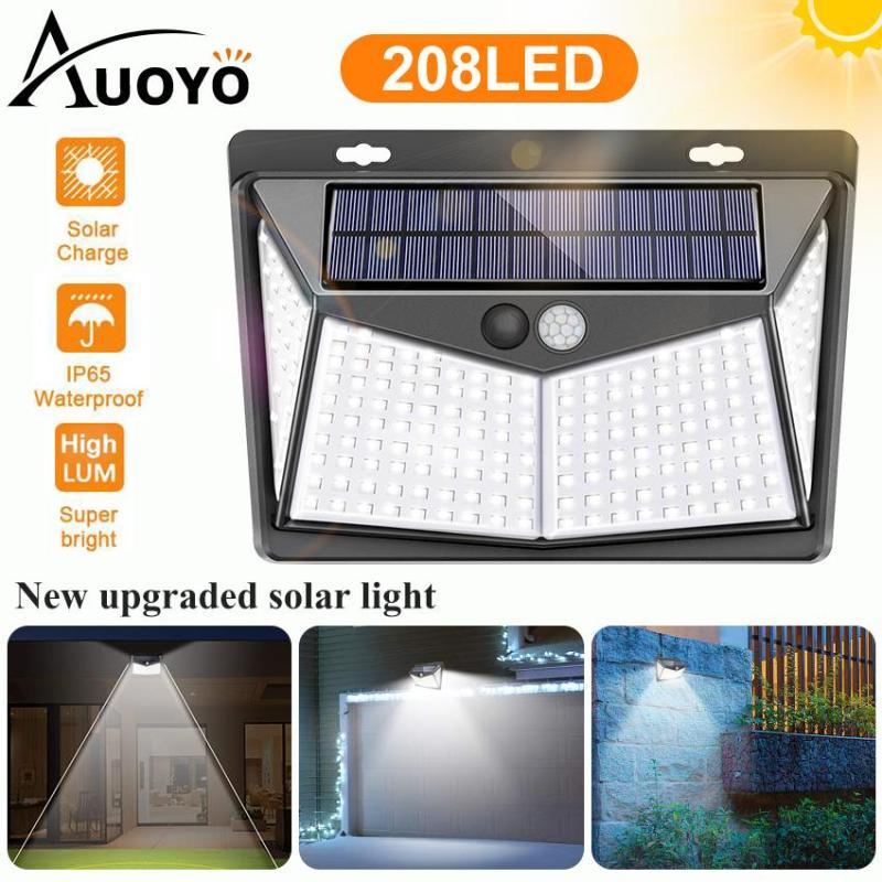 Auoyo 208LED Outdoor Lighting Solar Lights  Outdoor 270° Wide Angle Lamp Wireless Sensor Solar Lights  IP65 Waterproof for Yard Garage Deck Pathway Porch