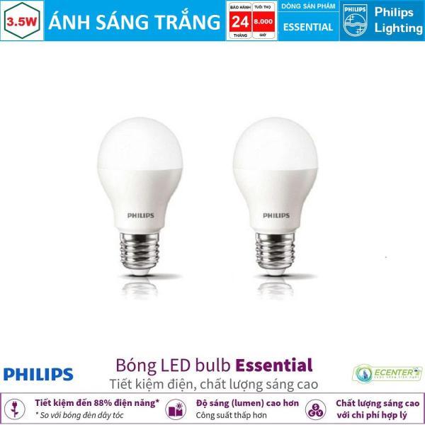 ( Bộ 2 ) Bóng LED Bulb Philips Essential 3.5W E27 ( Ánh sáng trắng & vàng )