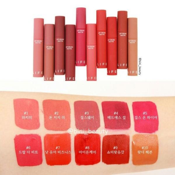 Son kem siêu lì its Skin Life Color Lip Crush Matte chất lượng đảm bảo an toàn đến sức khỏe người sử dụng cam kết hàng đúng mô tả