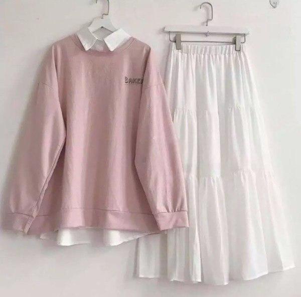 Sét váy nữ kèm áo cực đẹp mặc đi chơi đi tiệc, siêu dễ thương 8 (SET VÁY ÁO HỒNG)