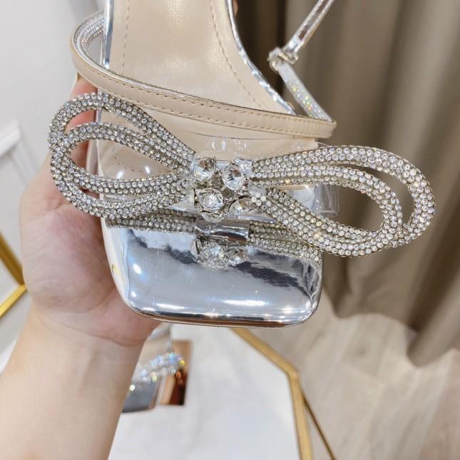 giày cao gót sandan nữ got nhọn quai ngang đính đá kèm nơ siêu sang giá rẻ
