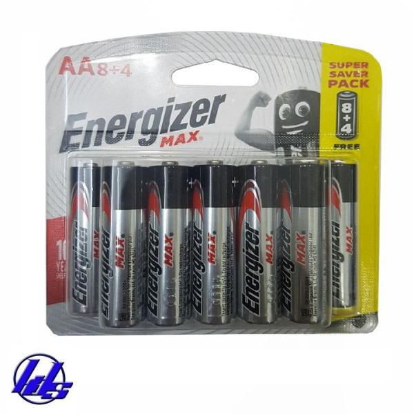 Pin AA Energizer E91 BP8 + 4 - Vỉ 12 viên