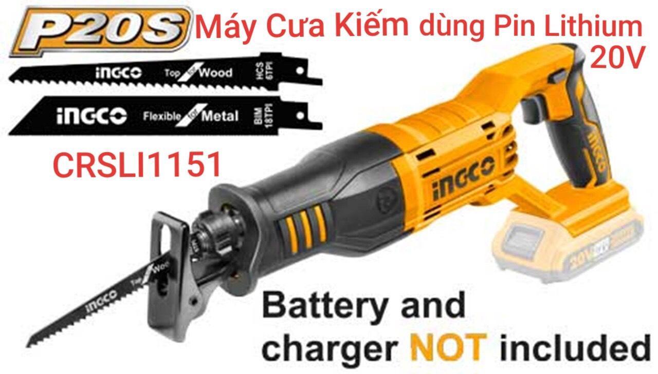 20V Máy cưa kiếm dùng pin Ingco CRSLI1151 (KHÔNG KÈM PIN VÀ SẠC)