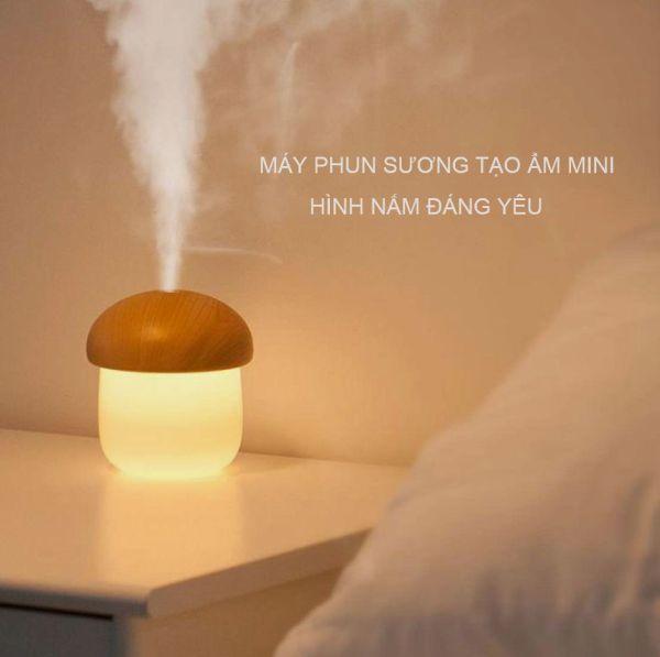 Máy phun sương để bàn kiêm đèn ngủ Jisulife JM02 hình nấm lùn đáng yêu, phun sương nano làm đẹp da, tạo ẩm không khí khuếch tán tinh dầu - 250ml, đèn ngủ LED 2 màu ánh sáng