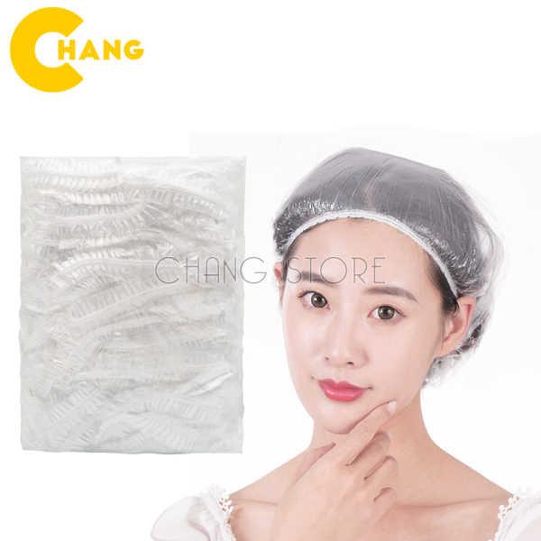 Set 100 mũ trùm đầu nilon cho salon có thể tái sử dụng thiết kế sẵn chun dễ dàng sử dụng