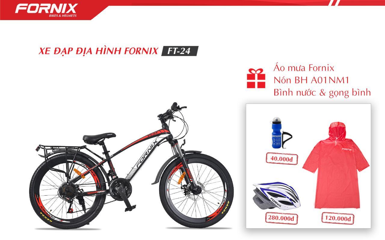 Mua XE ĐẠP ĐỊA HÌNH FORNIX FT24+ (Gift) , Nón Bảo Hiểm A01NM1L,Áo mưa, Bình và gọng bình nước