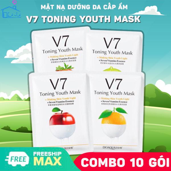 Mặt nạ giấy dưỡng da mụn cấp ẩm thải độc ( COMBO 10 Gói ) V7 Toning Youth Mask Bioaqua