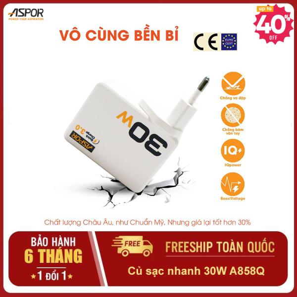 Aspor A858Q - Củ sạc nhanh 30W thông minh đa năng - 3 USB tự ngắt khi đầy - Bộ sạc cho điện thoại, máy tính bảng, camera, máy ảnh ...Đèn LED chống cháy nổ